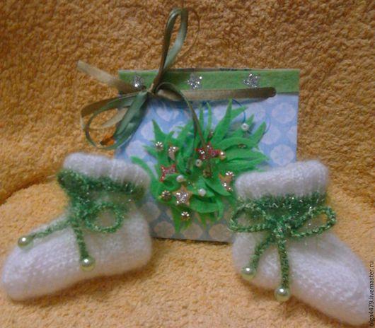 Подарки для новорожденных, ручной работы. Ярмарка Мастеров - ручная работа. Купить Носочки для крохи. Handmade. Белый, носочки мохеровые