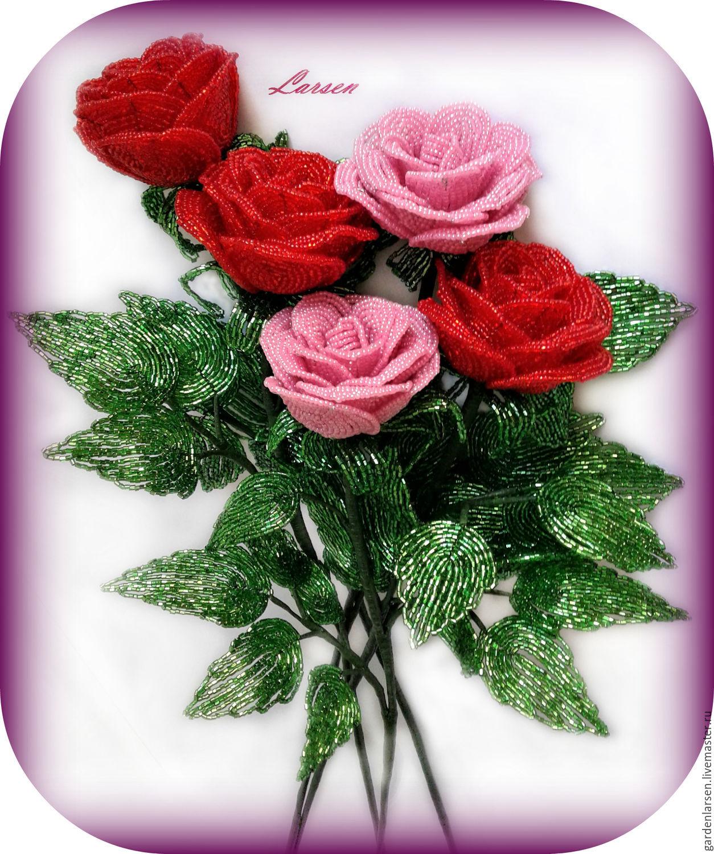 Розы из бисера в натуральном размере