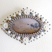 Украшения handmade. Livemaster - original item Brooch with moss agate, classic, beads, natural stone. Handmade.