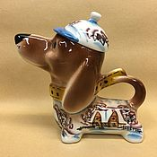 Teapots & Kettles handmade. Livemaster - original item Dachshund Winter Village Porcelain Teapot. Handmade.