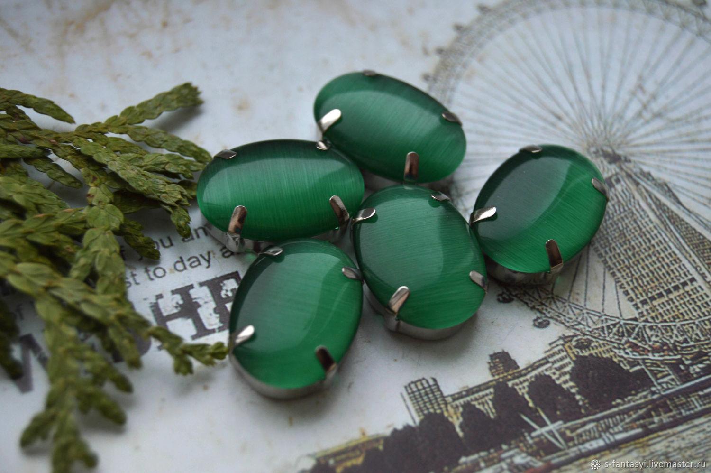 Silk rhinestones malachite 13h18 mm oval, Cabochons, Stavropol,  Фото №1