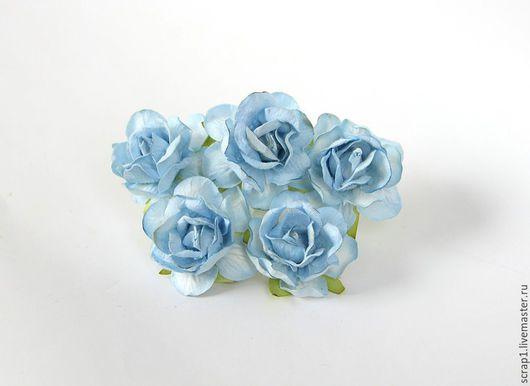 Открытки и скрапбукинг ручной работы. Ярмарка Мастеров - ручная работа. Купить Розы кудрявые 4 см  5 шт. Голубые.. Handmade.