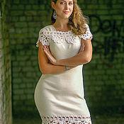 Платья ручной работы. Ярмарка Мастеров - ручная работа Платья: Вязаное белое нежное платье с ажурной отделкой. Handmade.