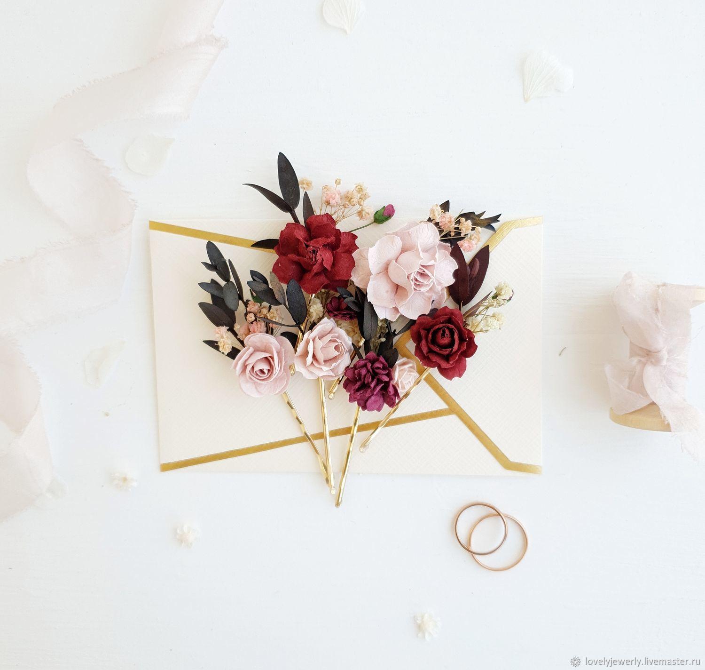 Невидимки в прическу -  Burgundy rose gold 6 штук, Украшения, Краснодар, Фото №1