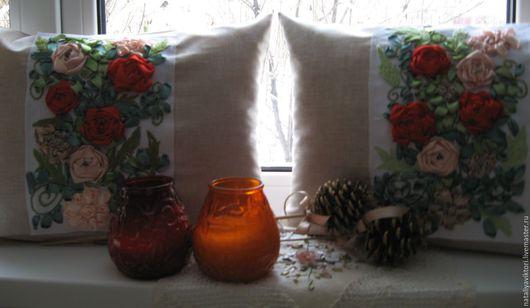 """Текстиль, ковры ручной работы. Ярмарка Мастеров - ручная работа. Купить Комплект декоративных подушечек """"Парковые розы"""". Вышивка лентами.. Handmade."""