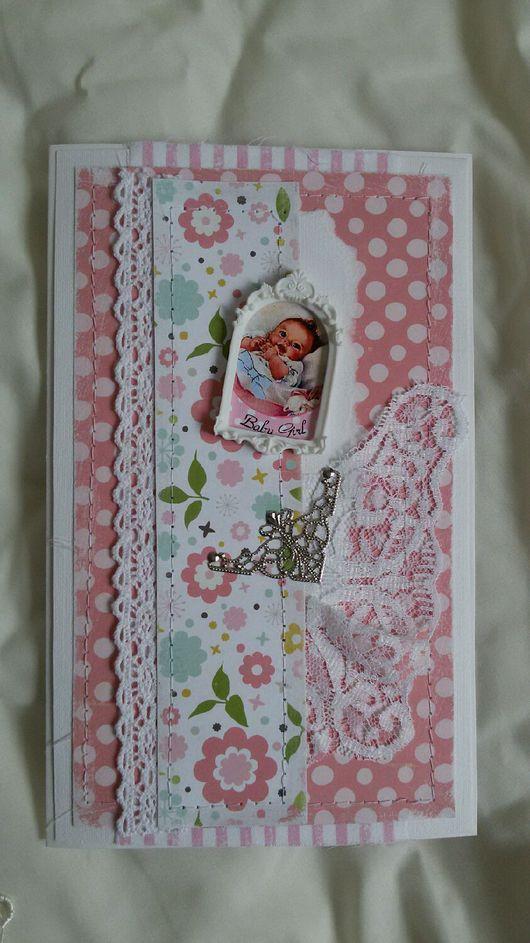 Папки для бумаг ручной работы. Ярмарка Мастеров - ручная работа. Купить Папка для документов и открытка для новорождённой. Розовая полоска.. Handmade.
