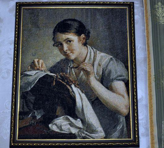 """Люди, ручной работы. Ярмарка Мастеров - ручная работа. Купить """"Кружевница"""", вышивка крестом. Handmade. Комбинированный, Вышитая картина, интерьер"""