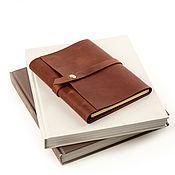 Канцелярские товары handmade. Livemaster - original item Leather diary on rings with belt and magnetic button. Handmade.