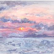 Картины и панно ручной работы. Ярмарка Мастеров - ручная работа Закат на Черном море. Handmade.