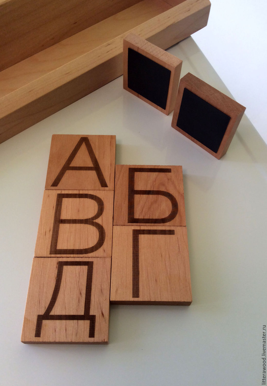 Деревянная магнитная азбука