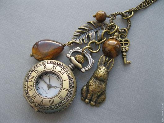 Часы ручной работы. Ярмарка Мастеров - ручная работа. Купить Часы кулон тигровый глаз.. Handmade. Часы, часы кулон