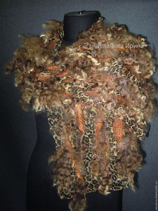 """Шарфы и шарфики ручной работы. Ярмарка Мастеров - ручная работа. Купить шарф """"Оригинальный"""". Handmade. Коричневый, шарф валяный"""