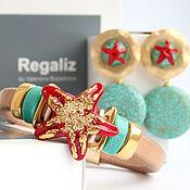 """Комплект Regaliz """"Starfish"""" браслет и серьги"""