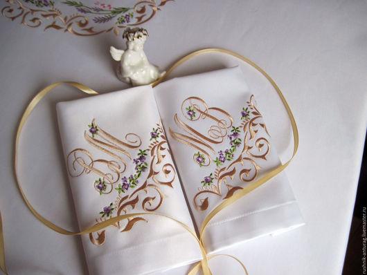 Вышитые салфетки, Салфетки с вышивкой,  Вышитая салфетка, Вышитая скатерть, Именной подарок, Именная вышивка, Монограмма, Подарок на свадьбу, Прованс