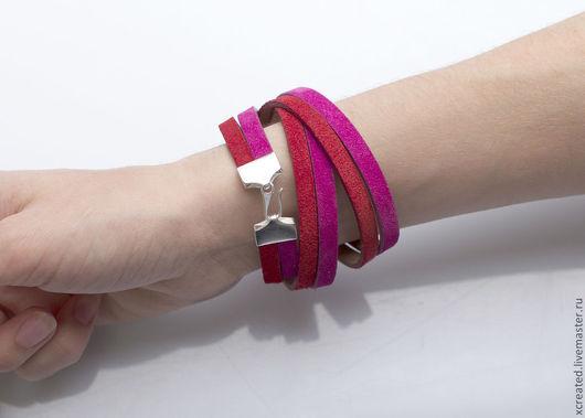 Браслеты ручной работы. Ярмарка Мастеров - ручная работа. Купить браслеты Сочетание с серебром, красный и фуксия. Handmade. Браслет, розовый