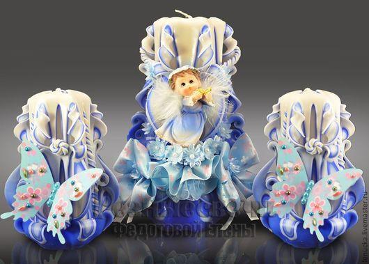 Резные свечи ручной работы серия Мой ангел. Комплект из трех свечей.
