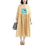 Одежда handmade. Livemaster - original item Dress country teacher Dress - Khaki. Handmade.