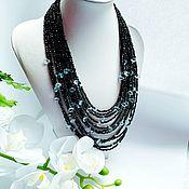 Украшения handmade. Livemaster - original item Necklace made of black spinel and blue topaz. Handmade.