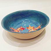 Посуда ручной работы. Ярмарка Мастеров - ручная работа Детская глубокая керамическая тарелочка Спасай рыбок. Handmade.