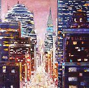 """Картины и панно ручной работы. Ярмарка Мастеров - ручная работа Картина маслом """"Вечерние огни"""" 50 на 60. Handmade."""