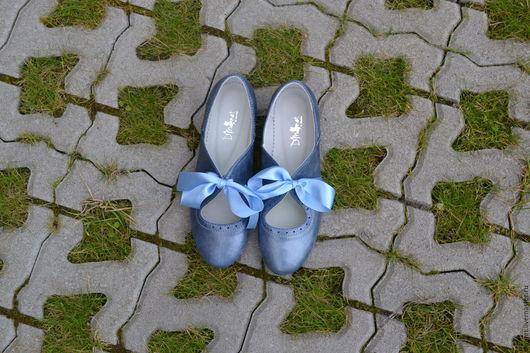 Обувь ручной работы. Ярмарка Мастеров - ручная работа. Купить Туфли с бантом. Handmade. Голубой, туфельки