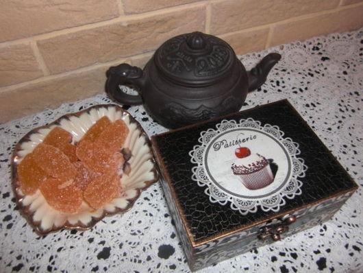 """Кухня ручной работы. Ярмарка Мастеров - ручная работа. Купить Чайная шкатулка """"Изысканный десерт"""". Handmade. Чайная коробка, коричневый"""