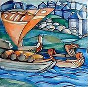 Картины и панно handmade. Livemaster - original item Ceramic panel with a painting of the painting of Nicholas Roerich Sadko. Handmade.