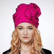 Аксессуары handmade. Livemaster - original item Hot pink cotton turban hat hijab with black polka dot. Handmade.