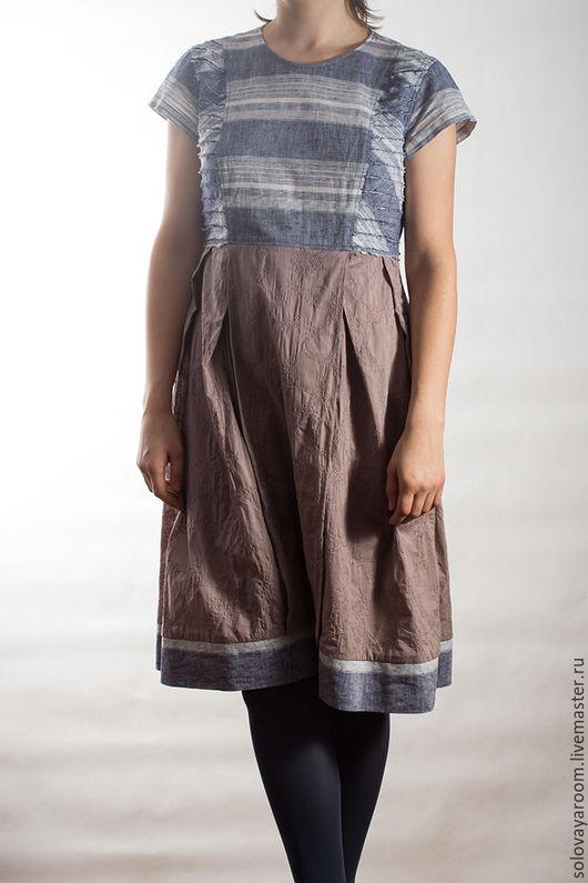 Платья ручной работы. Ярмарка Мастеров - ручная работа. Купить Барахолка! Платье из двух тканей.. Handmade. Сиреневый, готовая одежда