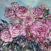 Картины и панно handmade. Livemaster - original item Picture peonies Bloomed in the garden. Alcohol ink.  Alcohol ink.. Handmade.