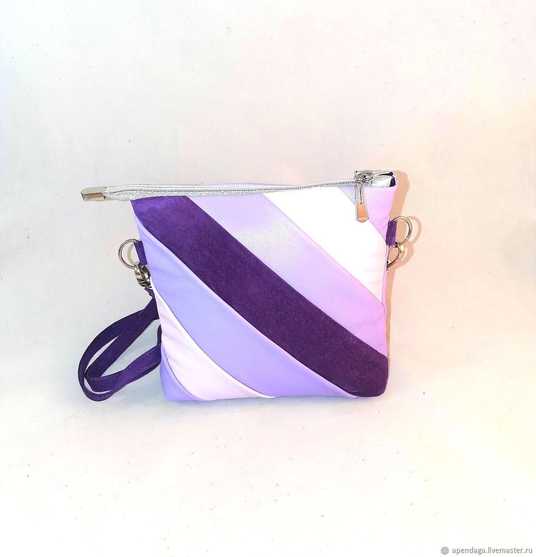 Leather handbag 'Provence', purple leather handbag, Messenger Bag, Ulyanovsk,  Фото №1