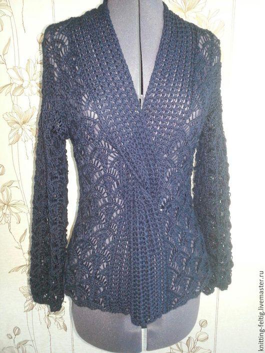 Кофты и свитера ручной работы. Ярмарка Мастеров - ручная работа. Купить Ажурный пуловер. Handmade. Тёмно-синий, ажур
