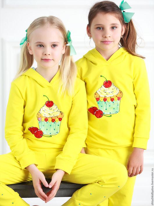 """Одежда для девочек, ручной работы. Ярмарка Мастеров - ручная работа. Купить Костюм """"Пироженка"""". Handmade. Желтый, спорт, бренд, lerede"""
