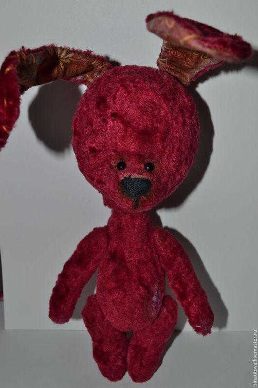 Мишки Тедди ручной работы. Ярмарка Мастеров - ручная работа. Купить Зайка Потеряшка. Handmade. Бордовый, подарок, Плюшевый мишка