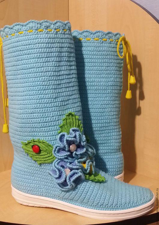 """Обувь ручной работы. Ярмарка Мастеров - ручная работа. Купить Сапожки """"Весна"""". Handmade. Голубой, сапожки ручной работы"""