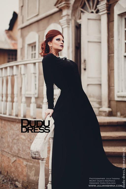 c9016c261e6 Платья ручной работы. Ярмарка Мастеров - ручная работа. Купить Чёрное  тёплое платье в пол ...