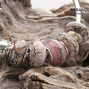 Материалы для творчества handmade. Livemaster - original item Shades pink - set 5 lampwork Branzuletka beads - charms bracelet. Handmade.