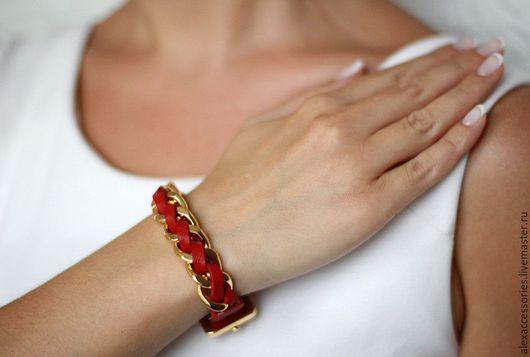 """Браслеты ручной работы. Ярмарка Мастеров - ручная работа. Купить Кожаный браслет """"Косичка"""" (красный). Handmade. Купить браслет, подарок"""