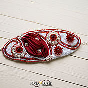 Украшения handmade. Livemaster - original item Bracelet Shibori silk Swarovski beads pearl red white. Handmade.