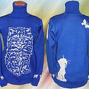 Одежда ручной работы. Ярмарка Мастеров - ручная работа Тату-свитер - Удивлённый котёнок. Handmade.