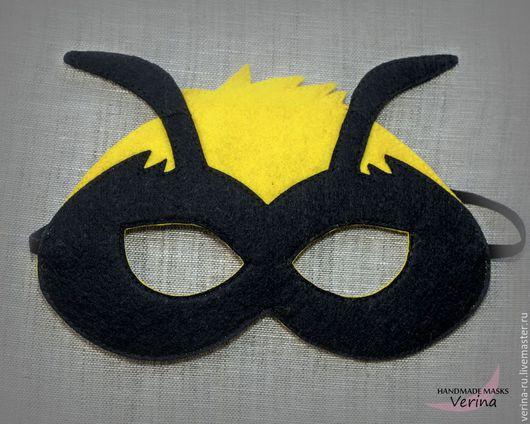 Карнавальные маски для детей и взрослых из фетра ручной работы. Маска пчёлки из фетра. Маски для вечеринки. Пчёлка