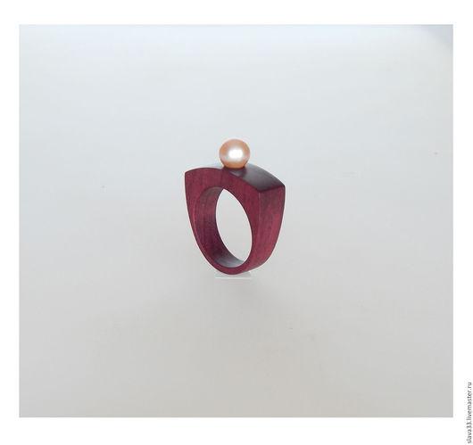 Кольца ручной работы. Ярмарка Мастеров - ручная работа. Купить Кольцо с розовым жемчугом.. Handmade. Бордовый, розовый жемчуг, жемчуг