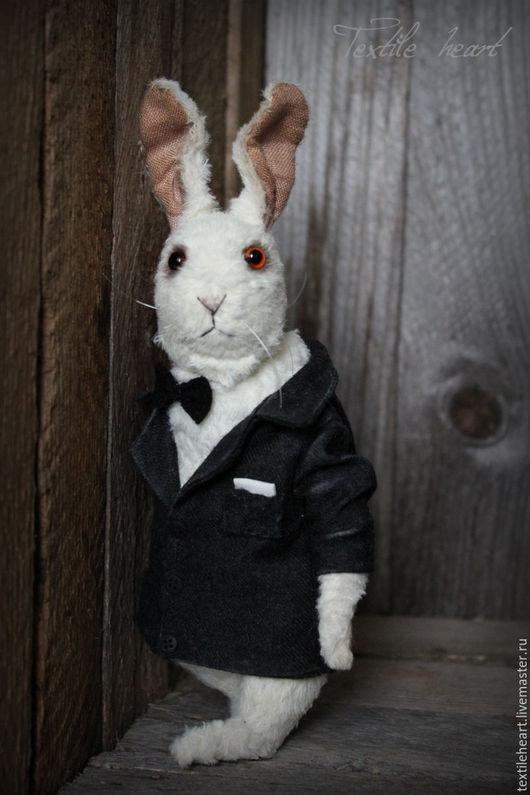 Мишки Тедди ручной работы. Ярмарка Мастеров - ручная работа. Купить Белый кролик 007. Handmade. Чёрно-белый, зайчик