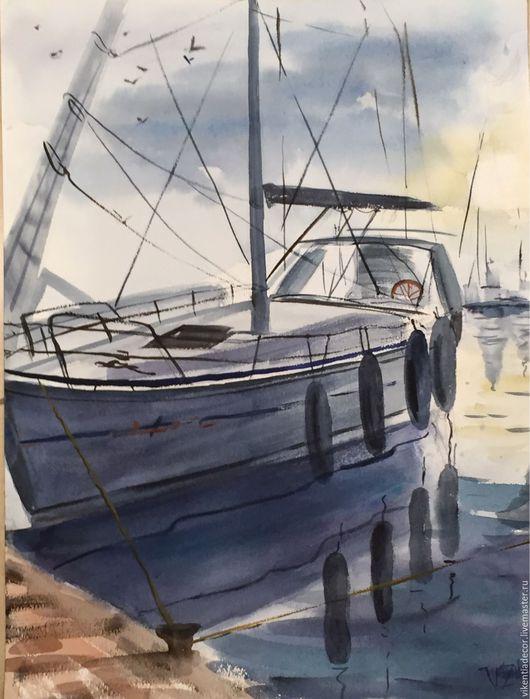 """Пейзаж ручной работы. Ярмарка Мастеров - ручная работа. Купить """"Яхта на закате """", акварель. Handmade. Акварель, море живопись"""