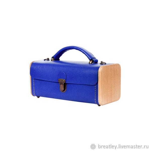 Blue leather and wood LADIES' STEP handbag-Blue leather bag, Crossbody bag, Moscow,  Фото №1