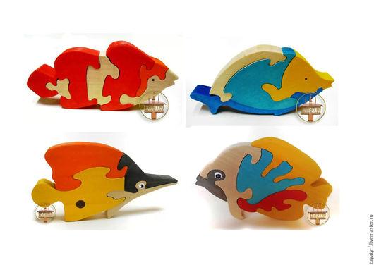 Развивающие игрушки ручной работы. Ярмарка Мастеров - ручная работа. Купить Рыбки - набор пазлов. Handmade. Комбинированный, рыбы