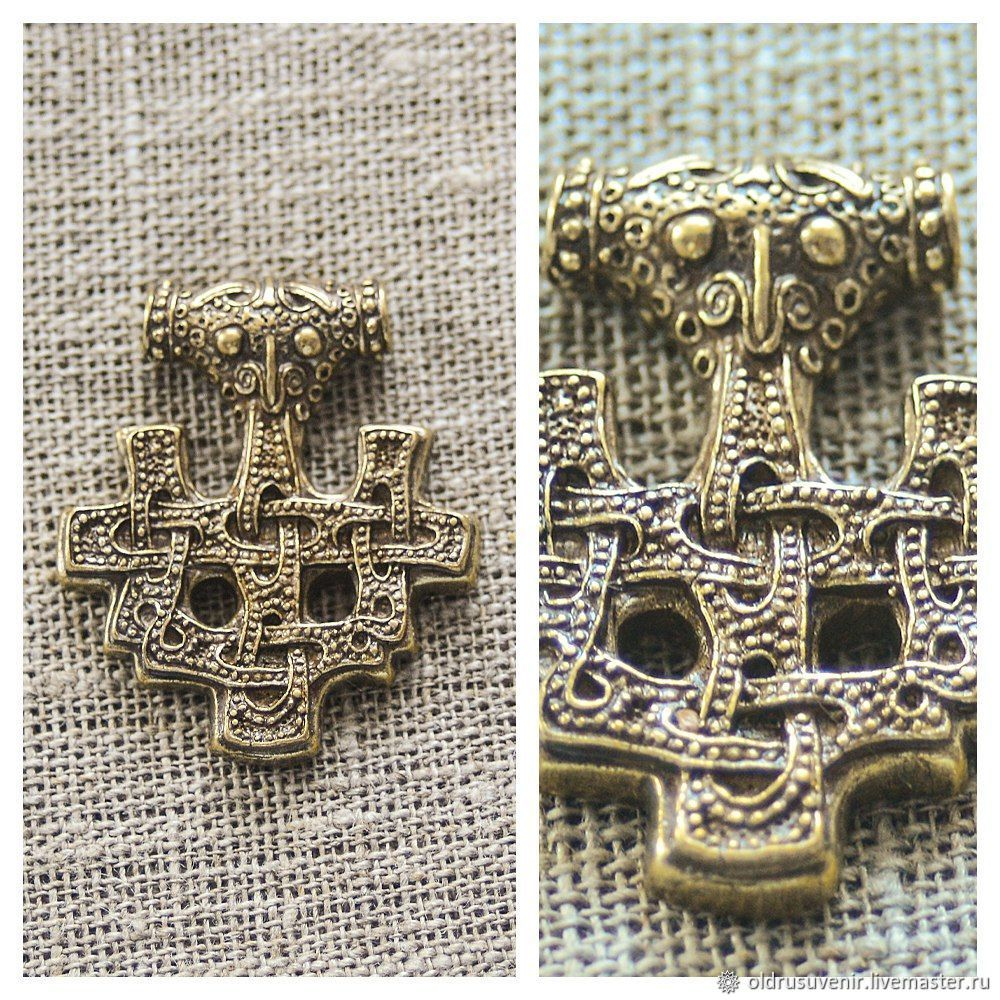 Thors Hammer Brass Plated Viking Pendant Copy of that Found Island HIDDENSEE