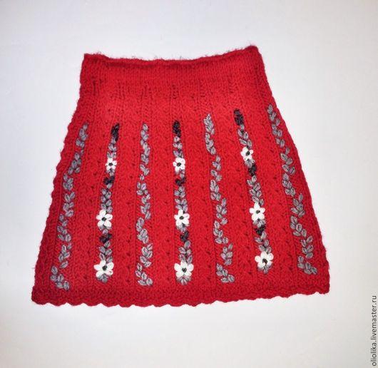 Одежда для девочек, ручной работы. Ярмарка Мастеров - ручная работа. Купить Юбка для девочки 7-10 л. вязаная с вышивкой. Handmade.