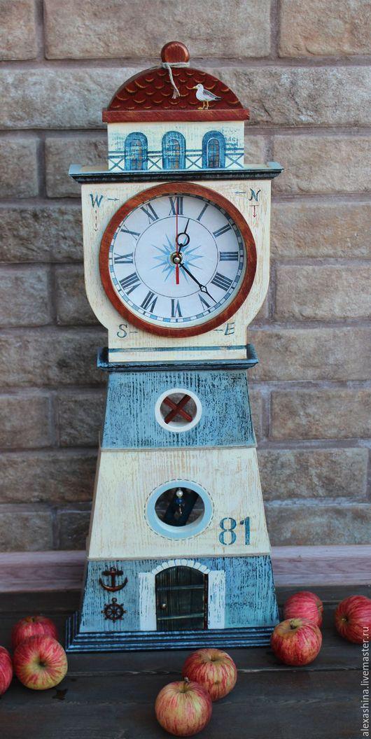 Часы для дома ручной работы. Ярмарка Мастеров - ручная работа. Купить Часы маяк со стеклом. Handmade. Синий