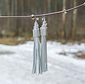 Серебряные Серьги-Кисти из Кожи (Indiana_Silver)